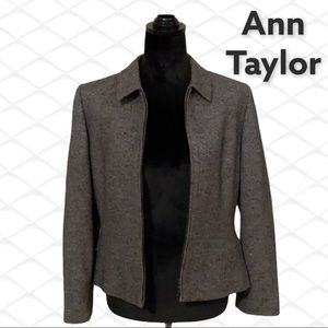 Ann Taylor Petites 10p lined charcoal zip jacket